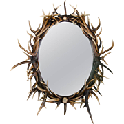Late 20th C. Large Oval Antler Mirror