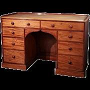 19th C. Mahogany Gothic Kneehole Desk