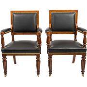 Pair of English Oak Elbow Chairs on Reeded Legs