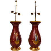 Pair of Red Hand Painted French Table Lamps