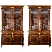 Pair of 19th C. French Mahogany 2 Door Bookcases