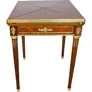 19th C French Envelope Kingwood and Rosewood Card Table