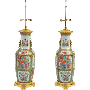 Late 19th C. Ormolu mounted Chinese Canton Table Lamp with Family Figures and Bird Motifs