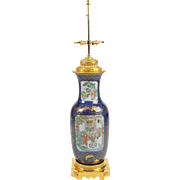 Late 19th C. Ormolu mounted Chinese Canton Table Lamp with Family Figures and Dragon Motif