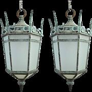 Pair of Grand Size Bronze Lanterns