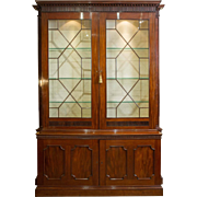 Late 18th C. Mahogany Bookcase with Dentil Cornice Detail