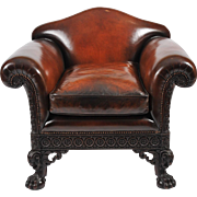 Early 20th C. Carved Leather Upholstered Mahogany Armchair