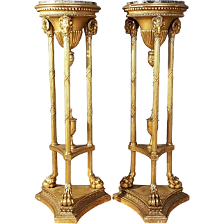 Pair of Neoclassical Revival Gilt Pedestals with Marble Tops