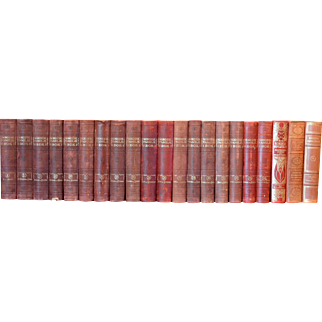 Metre of Early 20th Century Leather Bound Books, Series 19/20