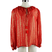 Vintage SAINT LAURENT PEASANT Blouse Red Metallic Silk Size 38 Boho Fashion