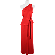 80s LOUIS FERAUD 2 Pc One Shoulder Top and Matching Maxi Skirt Size 40