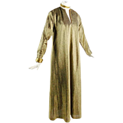 Halston Vintage Gold Metallic Boho Tunic Hostess Gown Size Small to Med Designer Vintage