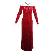 Yves Saint Laurent Ruby Red Off the Shoulder Dramatic Full Length Gown Sz 36