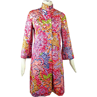 60s Vintage Geoffrey Beene Brocade Metallic Car Coat Metallic Mod Fashion Small
