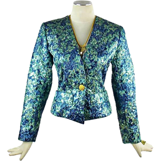 Vintage Yves Saint Laurent Metallic  Evening Cocktail  Jacket  Size 36