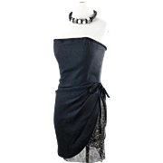 Yves Saint Laurent Deadstock Tags Black Cocktail Corset Dress Lace Inlay sz 40
