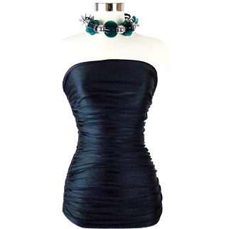 Yves Saint Laurent Ruched Halter Black Top Fitted Cocktail Wear Sz 40