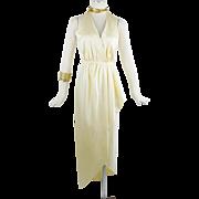 Vintage Halston Grecian Halter Wrap Silk Dress Cream Color Small to Med 70s Vintage