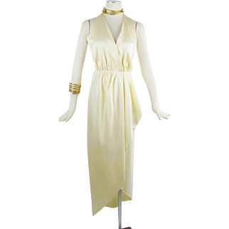 Vintage Halston Grecian Halter Wrap Silk Dress Cream Color Small to Med 70s Vintage
