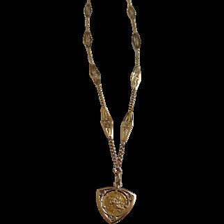 Rene Laliquè Art Nouveau 18k Gold Ornate Chain Medallion