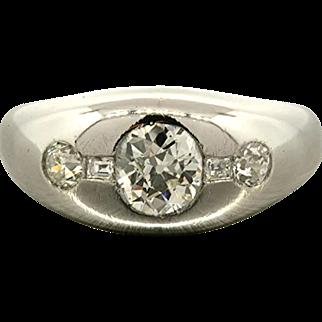 1940's 1.5 Carat G VVSI Diamond Platinum Ring