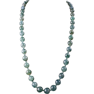 Natural Grade A Icy Jadeite Large Beaded Necklace!