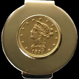 Tiffany & Co. Rare Money Clip feat.  Gold 1 Ounce Coin