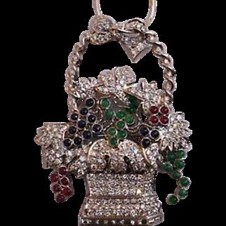 Cartier Art Deco French 18K Gold Emerald Ruby Sapphire Diamond Pendant/Necklace