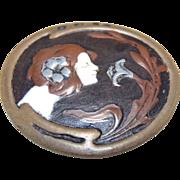 Alphonse Mucha polychrome enamel brooch