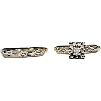 14k WG & YG Vintage Illusion Setting Diamond Cut Diamond Bridal Set Size 5 1/2