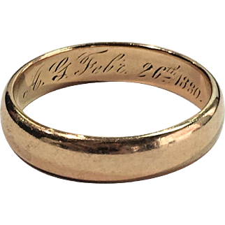 "RARE Antique Victorian 14k Yellow Gold Wedding Band Ring Engraved ""February 26 1880"""