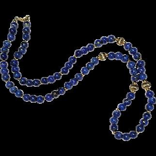 "14k Yellow Gold 8mm Blue Lapis Lazuli Bead Necklace 28"" long"
