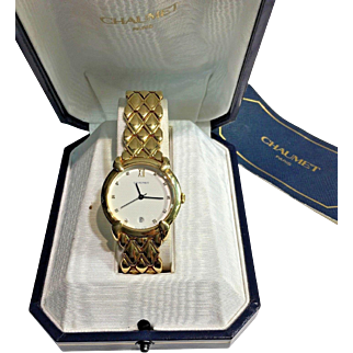 Solid Heavy 18k YG and Diamond Chaumet Paris Elysées Unisex Mens Watch 227529