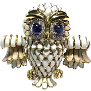 RARE Vintage Large 18k YG White Opal Enamel Sapphire and Diamond Owl Pin Brooch