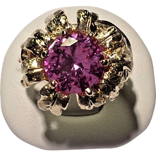 14k Yellow Gold Round Pink Sapphire Center 3D Sunflower Ring Size 5.5
