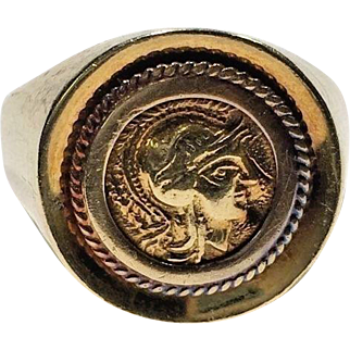 18k Yellow Gold Old Ancient AOE Owl Greek Coin Signet Statement Ring Size 11