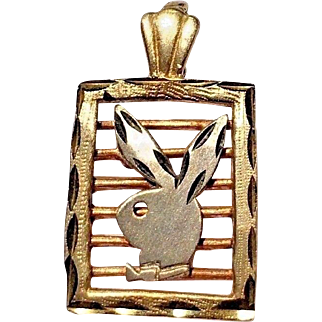 1980's 14k Tri-Color White Gold, Yellow Gold, Rose Gold Playboy Bunny Charm Pendant Necklace