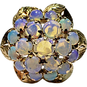 Vintage18k Yellow Gold Blue Green Fiery Opal Tiered Cluster Cocktail Ring Size 7.25