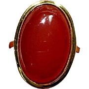 Large Vintage 8K Yellow Green Gold Oval Bezel Cabochon Carnelian 333 Ring Size 8