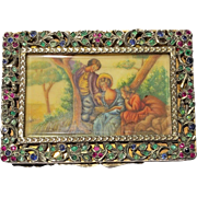 Layaway Jane B Gold Gilt 800 Silver Antique Italian Rococo Sapphire Emerald Ruby Jewels Compact