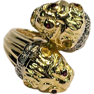 Vintage 18k Yellow Gold Signed Ilias Lalaounis Double Lion Head Chimera Ruby & Diamond Ring