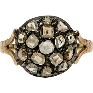 1800's Rose Cut Colored Diamond Cluster Silver & Yellow Gold Ring Size 10