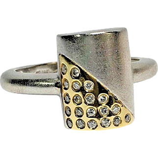 18k Two Tone Signed Vintage Amsterdam Sauer Diamond Ring With Original Box Size 7