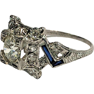 Art Deco GIA 1.30ctw Platinum Diamond & Sapphire Engagement Ring Sz 7 3/4