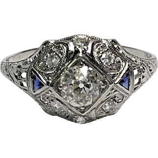 Art Deco Platinum Diamond and Blue Sapphire Dome Filigree Ring Size 10
