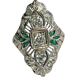 Art Deco Platinum Filigree Round Diamond & Marquise Emerald Ring Size 7