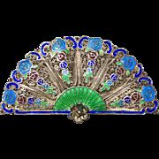 A lovely Asian enameled silver fan brooch