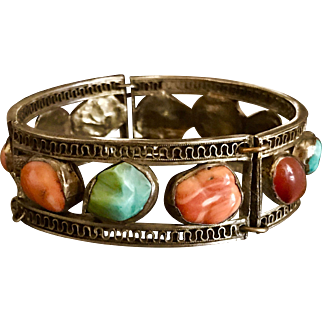 A silver gilt Asian coral,turquoise natural stone bracelet