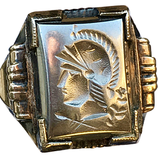 An Art Deco sterling+10k Ostby Barton intaglio ring.