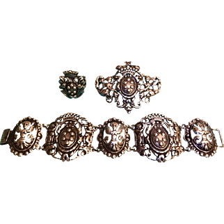 """A Fabulous """"Parenti""""sisters of Boston 3 piece ornate Sterling suite."""